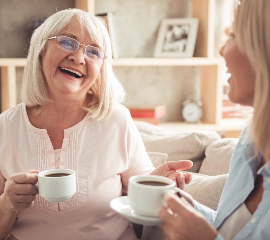 Talking with mom about retirement at Jacaranda Trace Senior Living