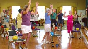 seniors staying active exercising