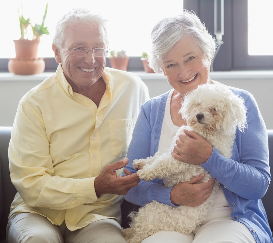 bigstock-Senior-couple-holding-a-dog-in-140074871